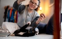 Chat qui joue avec sa propriétaire
